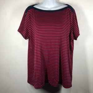 NorthCrest red and blue stripe tee size 1X